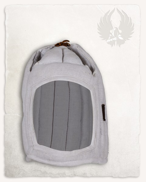 Aulber padded coif closed linen white